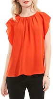 Vince Camuto Women's Flutter Sleeve Keyhole Blouse