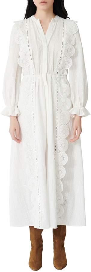 Maje Raviane Lace Eyelet Cotton Midi Dress