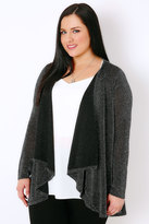 Yours Clothing Black & Silver Sparkle Cardigan With Waterfall Front