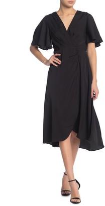 ASTR the Label Pleated Surplice Neck Ruche Dress