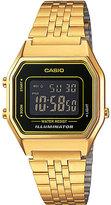 Casio Unisex gold-plated black dial digital watch