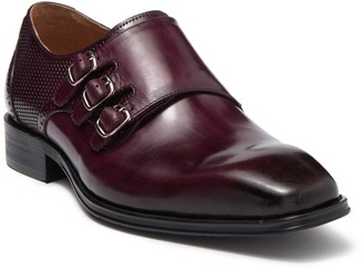 Steven Land Leather Perforated Monk Strap Loafer