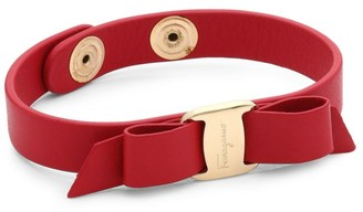 Salvatore Ferragamo Vara Bow Red Leather Bracelet