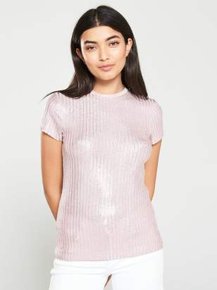 Ted Baker Catrino Metallic Fitted Tee - Light Pink