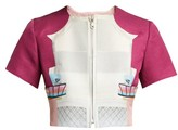 Mary Katrantzou Picket Parade Printed Matelasse Cropped Jacket - Womens - Pink White