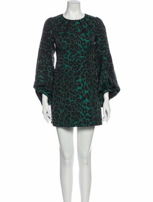 Andrew Gn Animal Print Mini Dress Green