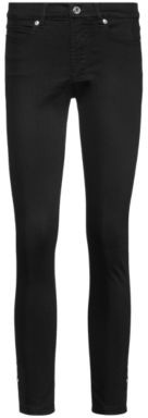 HUGO BOSS Charlie Super Skinny Fit Cropped Jeans With Side Slit Hems - Black