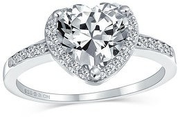 Bling Jewelry 3CT 925 Sterling Silver AAA CZ Halo Pave Band Heart Engagement Ring