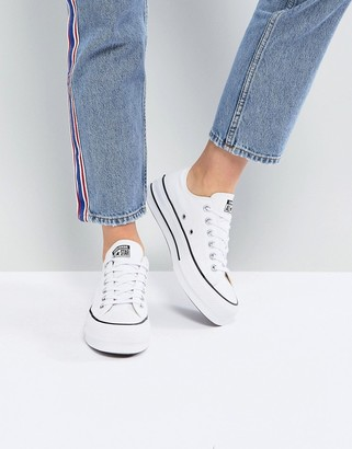 Converse Chuck Taylor All Star Ox canvas platform sneakers in white