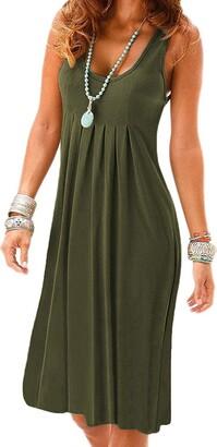 Flying Rabbit Women's Summer Dress Printing Knielang Sleeveless Round Collar A-Line Beach Dress Loose Summer Dress (s