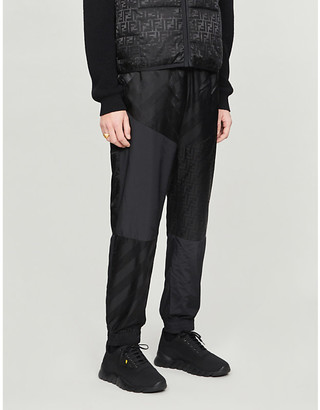 Fendi Brand-pattern tapered shell jogging bottoms