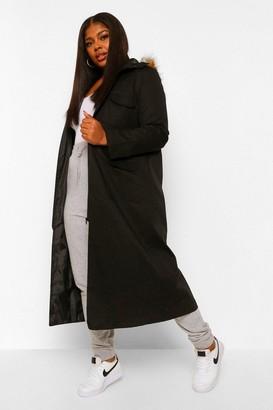 boohoo Plus Maxi Length Faux Fur Trim Hooded Parka