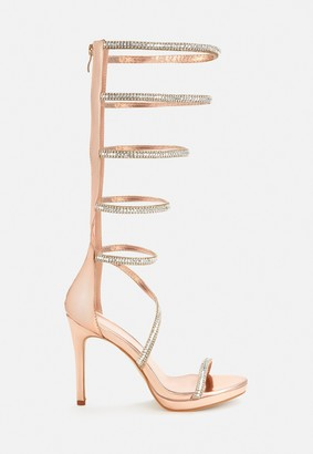 Missguided Rose Gold Diamante Knee High Heeled Sandals