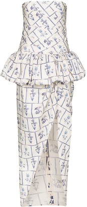 KHAITE Gwen floral-print strapless gown