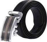 K&S KS Men's Classic Genuine Leather Belt Sliding Automatic Lock Alloy Buckle KB026