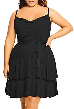 City Chic Plus Fit-and-Flare Layered-Hem Dress