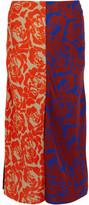 Jonathan Saunders Carine Paneled Printed Crepe Skirt - Brick