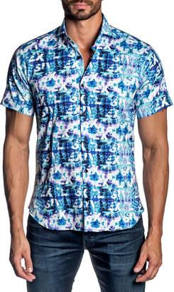 Jared Lang Men's Tie-Dye Typography Sport Shirt