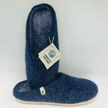 egos - Egos Hand Made Fair Trade Felted Wool Slippers Blue - 40 ( 7)