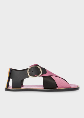Paul Smith Women's Black And Pink Leather 'Arrow' Sandals With 'Bright Stripe' Trim