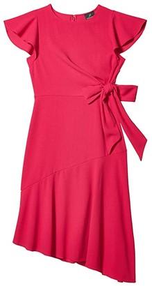 Adrianna Papell Divine Crepe Tie Dress (Bright Azalea) Women's Dress
