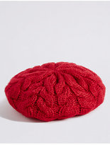 M&S Collection Cable Knit Beret Hat
