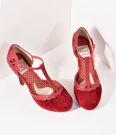 Bettie Page Burgundy Suede Lillian T-Strap Heels Shoes
