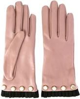 Gucci pearl embellished gloves - women - Silk/Cotton/Lamb Skin/Viscose - 7