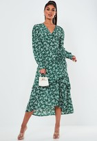 Missguided Green Floral Tiered Ruched Side Midi Dress