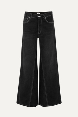 Ganni High-rise Wide-leg Jeans - Black