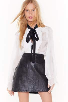 with me. Nasty GalNasty Gal Womens Tie It Sheer Ruffle Blouse - White - M/L, White