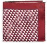 Canali Geometric Print Silk Pocket Square