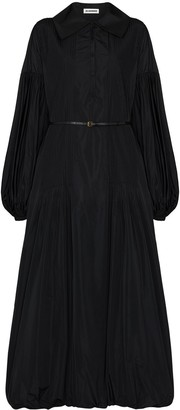 Jil Sander Belted Puff-Sleeve Maxi Dress