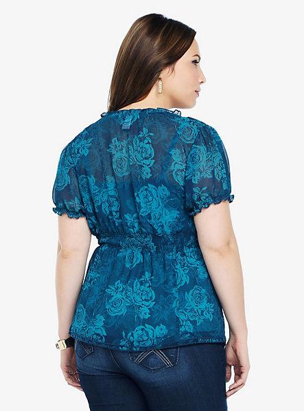 Babydoll Torrid Floral Print Smocked Chiffon Empire Shirt