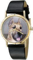 Whimsical Watches Kids' P0130080 Classic Great Dane Black Leather And Goldtone Photo Watch