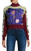 Diane von Furstenberg Cropped Floral Print Sweater