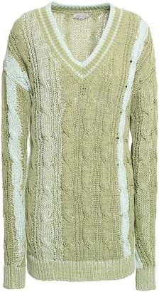 Nina Ricci Two-tone Cable-knit Cotton-blend Sweater
