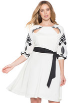 ELOQUII Plus Size Studio Embroidered Bishop Sleeve Dress