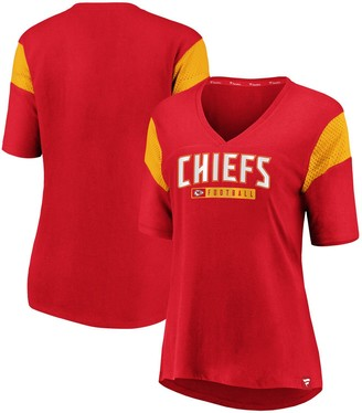 Women's NFL Pro Line by Fanatics Branded Red Kansas City Chiefs Iconic Mesh Piecing V-Neck T-Shirt