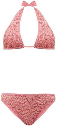 Missoni Mare - Zigzag-knitted Mesh Bikini - Womens - Pink