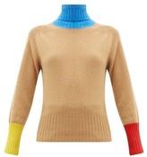 La Fetiche - Colourblock Roll-neck Wool Sweater - Womens - Camel