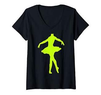 Womens Ballet Dancer Ballerina Body Tutu Girls Costume V-Neck T-Shirt