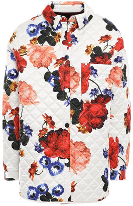 Mother of Pearl Quilted Floral-print Satin Jacket