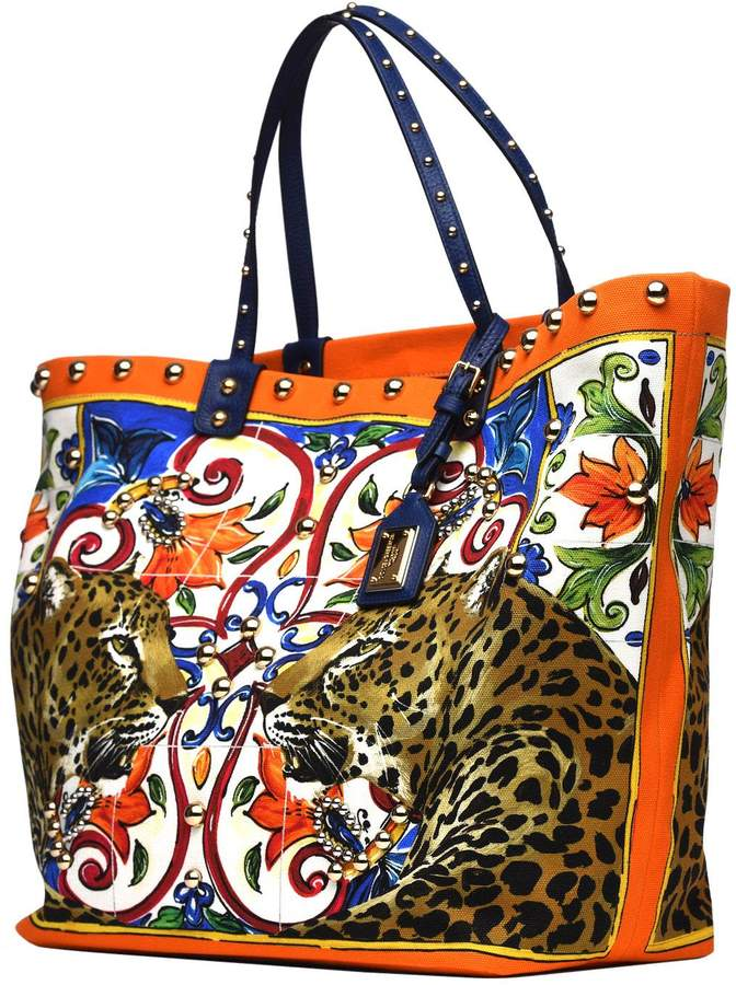 Dolce & Gabbana Canvas Beatrice Shopping Bag With Embroidery