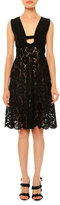 Valentino Sleeveless Plunging-Neck Lace Dress, Black