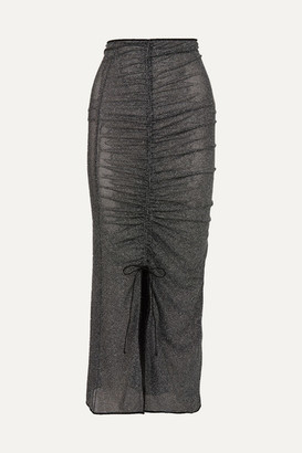 Oseree Shine Ruched Stretch-lurex Midi Skirt - Black