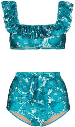 Adriana Degreas Ruffle Trim Floral Print Bikini Set