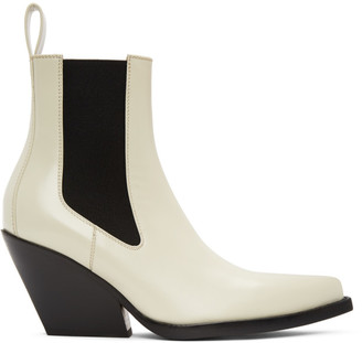 Bottega Veneta Off-White The Lean Heeled Chelsea Boots