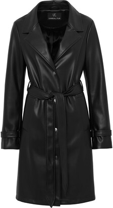 Unreal Fur Belted Faux Leather Coat