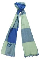 Gianfranco Ferre Scr 11170 Ric Light Blue/green Cotton Blend Mens' Scarf.